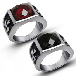 BA0120 BOBIJOO Jewelry Signet Ring Templar Cross in Red or Black