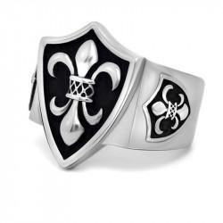 BA0126 BOBIJOO Jewelry Signet Ring Fleur-de-Lys Coat of arms Silver