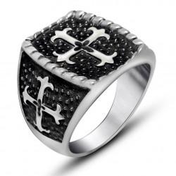 BA0127 BOBIJOO Jewelry Signet ring Man of Steel Black Cross of Lilies