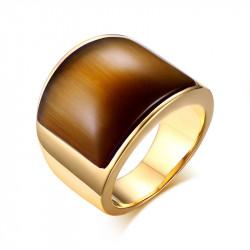 BAF0024 BOBIJOO Jewelry Bague Cabochon Pierre Marron Doré à l'Or Fin