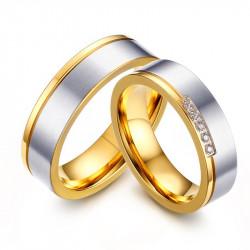 AL0052 BOBIJOO Jewelry Alliance Ring, Gold Silver Rhinestones