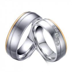 AL0054 BOBIJOO Jewelry Alliance Discreet Steel Gilded Gold End Silver Rhinestones