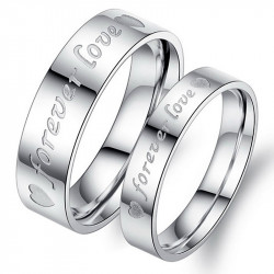 AL0055 BOBIJOO Jewelry Ring Alliance Silver-Plated Forever Love Stainless Steel