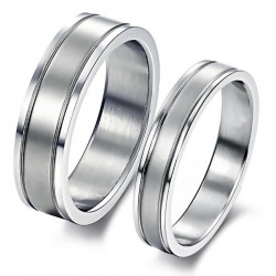 AL0057 BOBIJOO Jewelry Ring Alliance Ring Brushed Steel Single