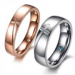 AL0058 BOBIJOO Jewelry Alliance Pink Gold Silver Cross Stainless Steel Rhinestone