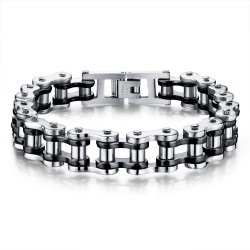 Bracelet Chaine de moto Acier Argenté Noir bobijoo