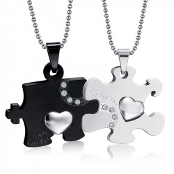 Double Collier Pendentif Couple Just For You Noir Strass bobijoo