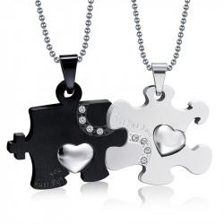PE0031 BOBIJOO Jewelry Double Necklace Pendant Couple Just For You Black Rhinestones