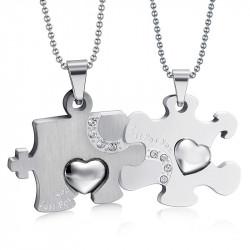 PE0032 BOBIJOO Jewelry Double Collar Pendant Necklace Couple Puzzle Silver Steel