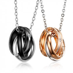 PE0033 BOBIJOO Jewelry Double Necklace Pendant Couple Alliance Rings Rhinestones