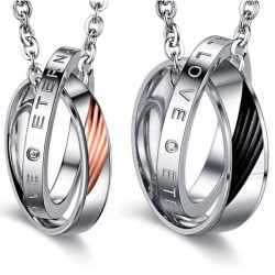 Double Collier Pendentif Couple Eternal Love Strass bobijoo