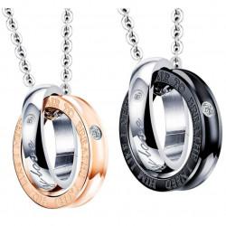 PE0043 BOBIJOO Jewelry Double Necklace Pendant Couple My Only Love Rhinestones