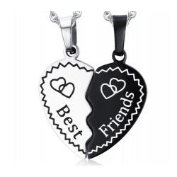 PE0046 BOBIJOO Jewelry Double Collier Pendentif Coeur Meilleurs Amis