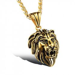 Pendentif Tête de Lion Acier Doré à l'Or Fin Patiné Vieilli bobijoo