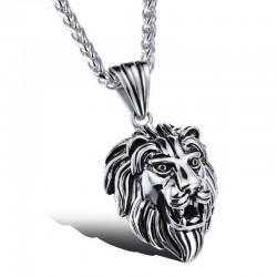 PE0041 BOBIJOO Jewelry Pendentif Tête de Lion Acier Inox Argenté Patiné Vieilli