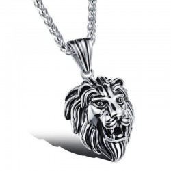Pendentif Tête de Lion Acier Inox Argenté Patiné Vieilli bobijoo