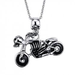 PE0047 BOBIJOO Jewelry Pendentif Moto Biker Tête de Mort Squelette