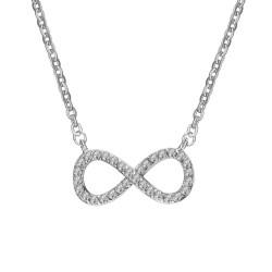 PEF0025 BOBIJOO Jewelry Collier Pendentif Infini Strass Acier Argenté