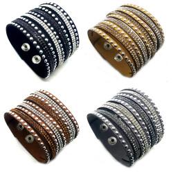 Bracelet Wrap Cuir Cristal Strass bobijoo