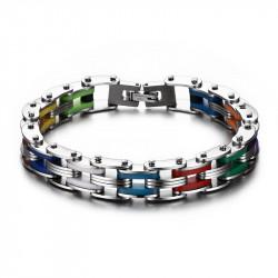 Bracelet LGBT Chaine de Moto Acier Silicone bobijoo