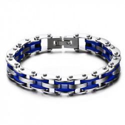 BR0142 BOBIJOO Jewelry Bracelet Chain Steel Motorcycle Blue Silicone