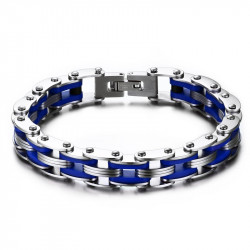Bracelet Chaine de Moto Acier Silicone Bleu bobijoo