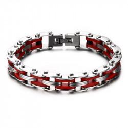 BR0143 BOBIJOO Jewelry Bracelet Chain Bike Steel Red Silicone
