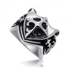 BA0028 BOBIJOO Jewelry Chevalière Bague Templier Fleur de Lys Croix de Malte Franc Maçon Masonic