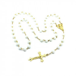 CP0011 BOBIJOO Jewelry Rosary Pearly White glass Beads facet