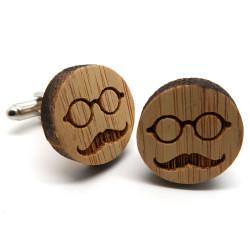 BM0019 BOBIJOO Jewelry Boutons de Manchette Bois Moustache Lunettes