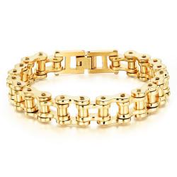 BR0100_22 BOBIJOO Jewelry Bracelet Chain bike Steel Gilded Gold finish
