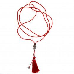 Collier Pendentif Pompon Bali Bouddha Perles Rouge bobijoo