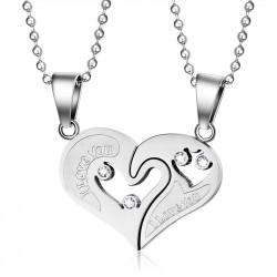 PE0053 BOBIJOO Jewelry Necklace Pendant Couple Heart Split I Love You Steel, Silver