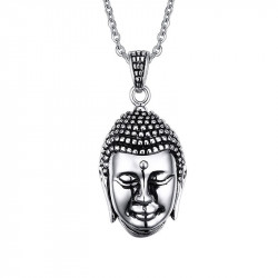 PE0056 BOBIJOO Jewelry Pendant Head of Buddha Bali Asia Stainless Steel
