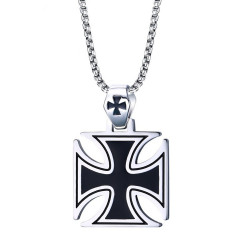 PE0062 BOBIJOO Jewelry Pendant Cross Pattee Black Maltese Biker Chain