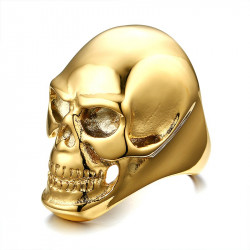 BA0139 BOBIJOO Jewelry Signet Ring, a Death's Head Gilded Gold finish Steel