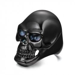 BA0141 BOBIJOO Jewelry Signet ring Ring, Death's Head, Black Steel