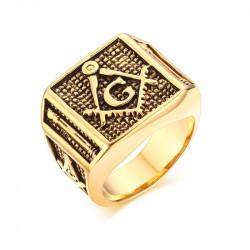 BA0146 BOBIJOO Jewelry Signet Ring Freemasonry Columns, Gilded Gold Finish G