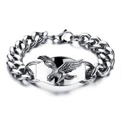 GO0010 BOBIJOO Jewelry Curb chain Bracelet Man Biker Flying Eagle USA Steel
