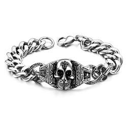 GO0011 BOBIJOO Jewelry Acera de la cadena de Pulsera de Hombre de Moteros Templarios (Cabeza de la Muerte