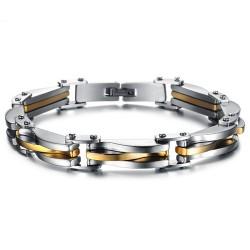 Bracelet Biker Acier Inoxydable Argenté Doré Esthétique bobijoo