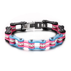 BR0170 BOBIJOO Jewelry Bracelet Mixed Steel Chain Bike Motorcycle Pink Blue Black Rhinestone