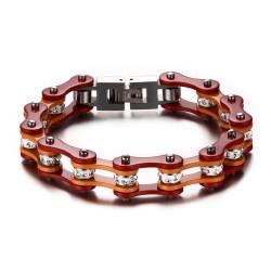 BR0172 BOBIJOO Jewelry Bracelet Mixed Steel Chain Bike Motorcycle, Orange Red Rhinestones