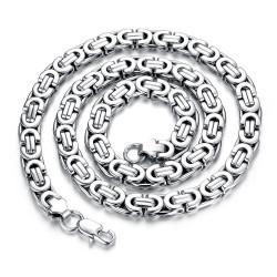 COH0001 BOBIJOO Jewelry Chain Necklace Man Byzantine Mesh Stainless Steel Silver