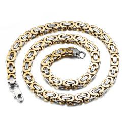 COH0002 BOBIJOO Jewelry Chain Necklace Man Mesh Byzantine Steel Silver Gilded Gold Finish