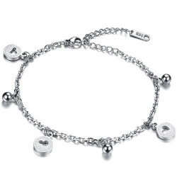 BR0178 BOBIJOO Jewelry Chain Ankle Women Steel Silver-tone Charms Heart