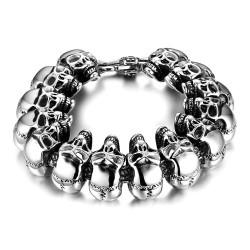 BR0185 BOBIJOO Jewelry Bracelet Man Biker skull Head Skull Stainless Steel