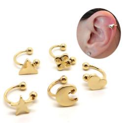 PIP0027 BOBIJOO Jewelry Lot de 5 Clips d'Oreille Doré