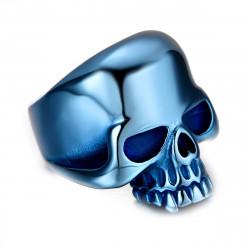 Chevalière Bague Biker Tête de Mort Skull Acier Inoxydable Bleu bobijoo