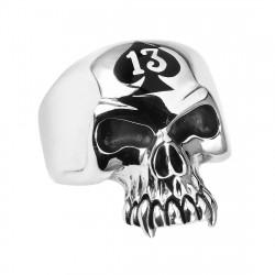 BA0150 BOBIJOO Jewelry Signet Ring Biker Man 13 Death's Head Stainless Steel